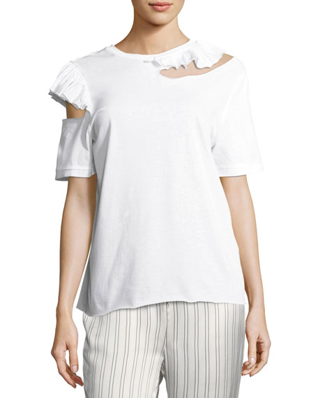 Endless Possibilities Slit Ruffled Shirt
