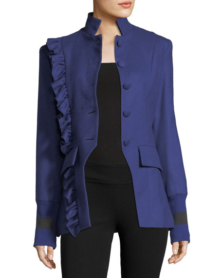 Maggie Marilyn Know Your Power Button-Front Wool Blazer