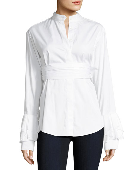 Warmest Light Long-Sleeve Button-Front Poplin Shirt