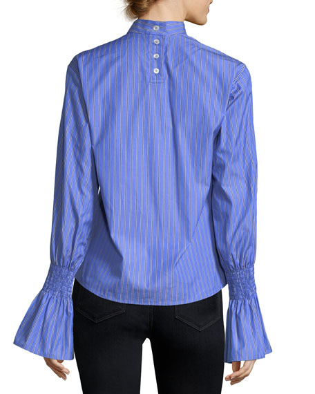 Revolution Striped Trumpet-Sleeve Cotton Shirt
