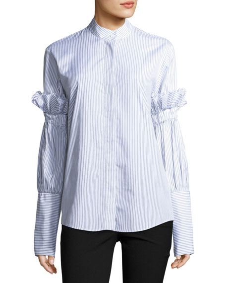 You Can Change The World Striped Button-Front Poplin Shirt