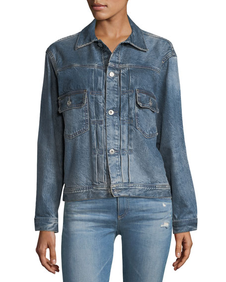 Cassie Button-Front Faded Denim Jacket