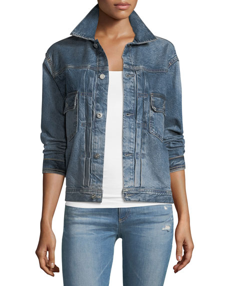 AG Cassie Button-Front Faded Denim Jacket
