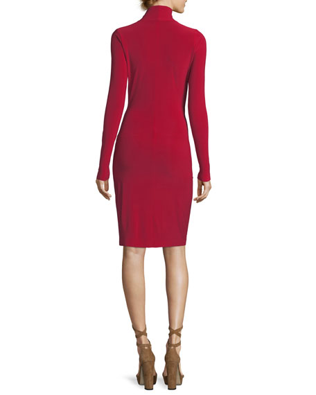 Long-Sleeve Surplice Jersey Cocktail Dress