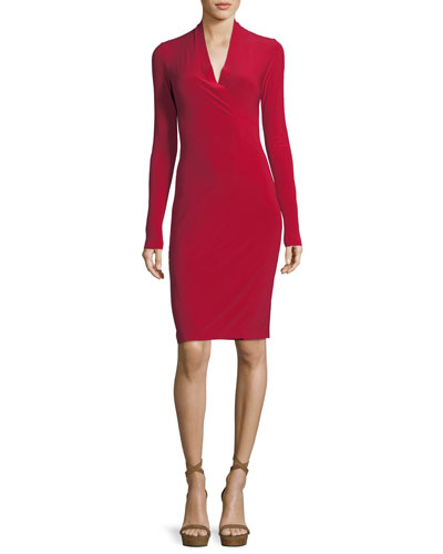 Long-Sleeve Surplice Jersey Cocktail Dress