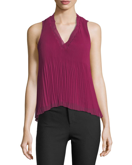 Sleeveless V-Neck Pleated Top