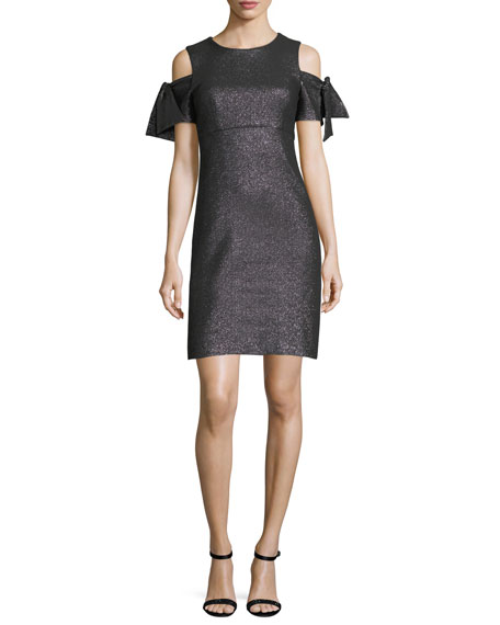 Milly Tie-Sleeve Cold-Shoulder Stretch-Lurex?? Cocktail Minidress