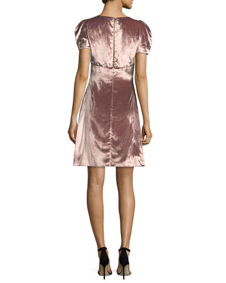 Christine Puff-Sleeve Panne Velvet Dress