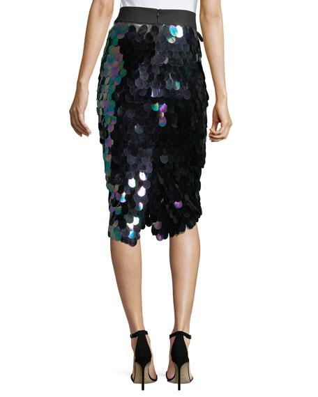 Paillette-Trimmed Midi Pencil Skirt