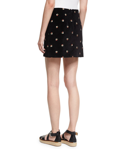 Floral Embroidered Cotton Mini Skirt