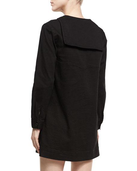 Sailor Split-Neck Long-Sleeves Shift Dress