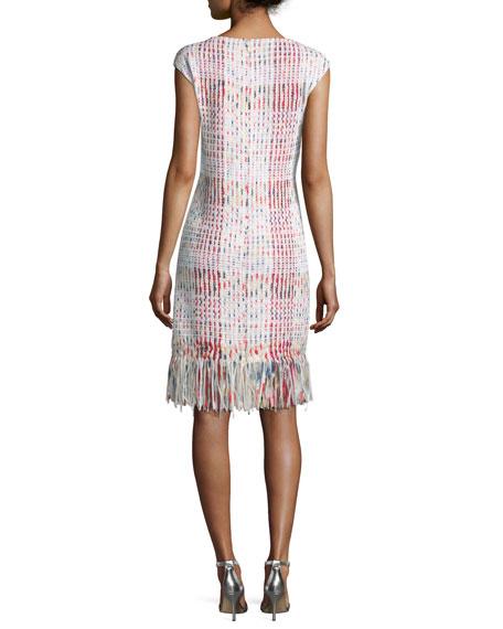 Soft Ribbon Macro Plaid Sheath Dress