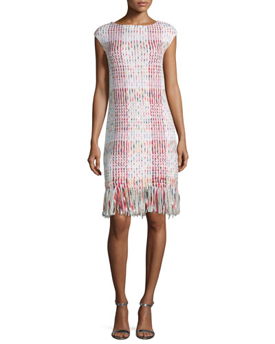 Soft Ribbon Macro Plaid Sheath Dress