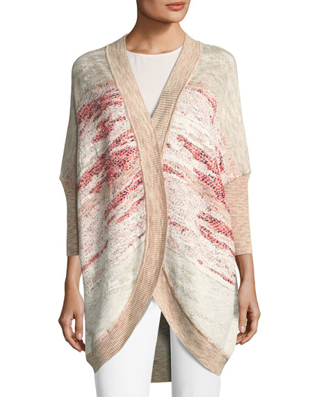Ombre Textured Jacquard Knit Cardigan