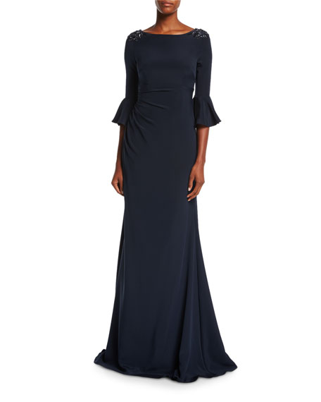 David Meister Boat-Neck Jeweled-Shoulder Ruched Crepe Evening Gown ...