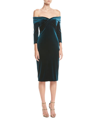 Draped Off-the-Shoulder Stretch-Velvet Cocktail Dress
