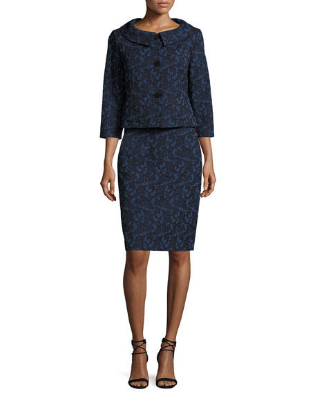 Albert Nipon Webbed-Lace Dress w/ Jacket
