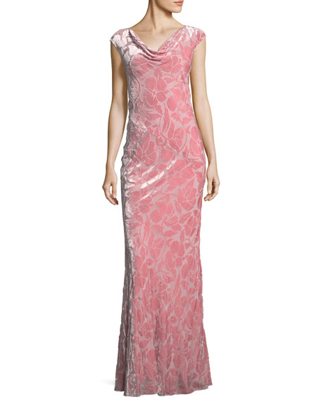 Floral-Burnout Velvet Column Gown