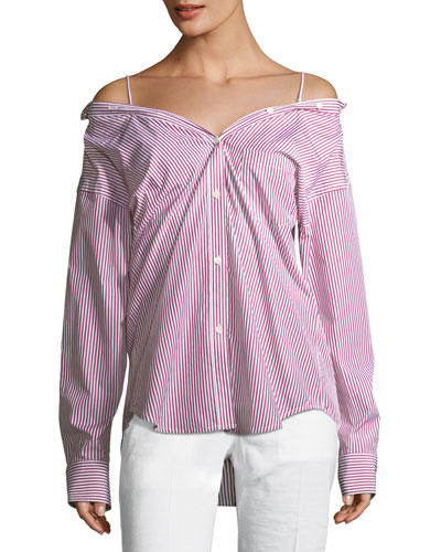Tamalee Off-the-Shoulder Striped Button-Front Top