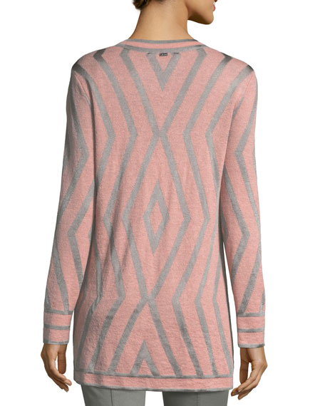 Matte Shine Geometric Jacquard Knit Cardigan