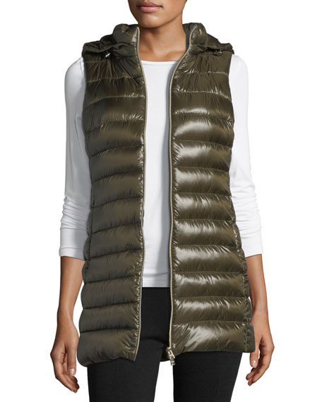 Long Zip-Front Quilted Puffer Vest w/ Removable Hood