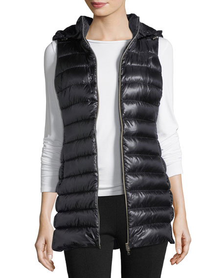 Herno Long Zip-Front Quilted Puffer Vest w/ Removable