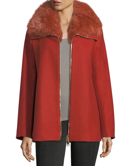 Long-Sleeve Zip-Front Wool Coat w/ Fur Collar