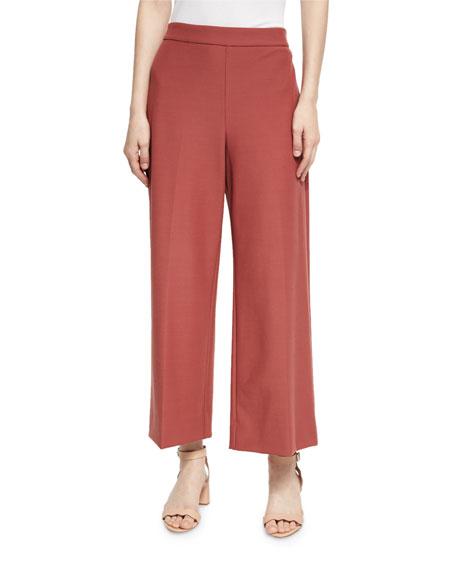 Cropped Wide-Leg Suit Pants