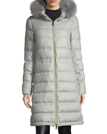Herno Long Hooded Quilted Puffer Coat w/ Fur