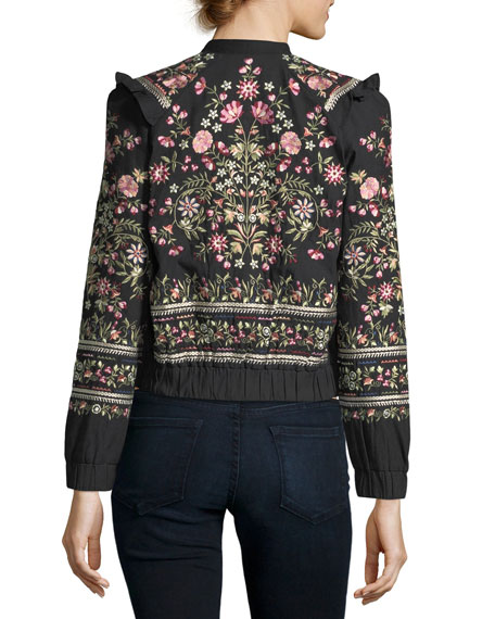 Whisper Victorian Floral-Embroidered Bomber Jacket
