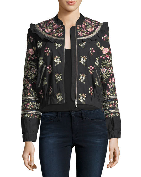 Needle & Thread Whisper Victorian Floral-Embroidered Bomber