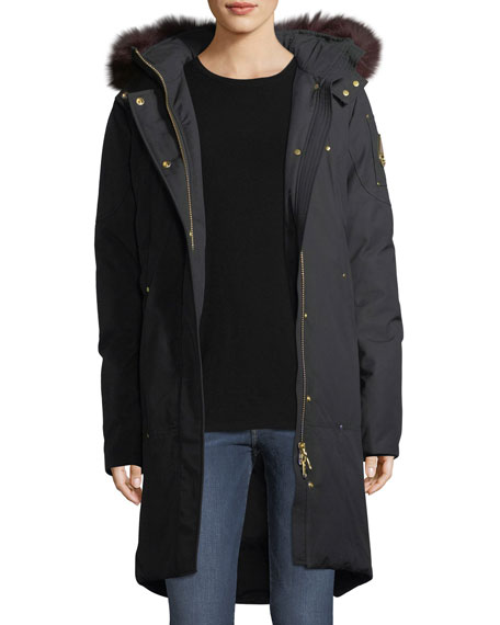 Moose Knuckles Hooded Parka Jacket w/ Fur Trim