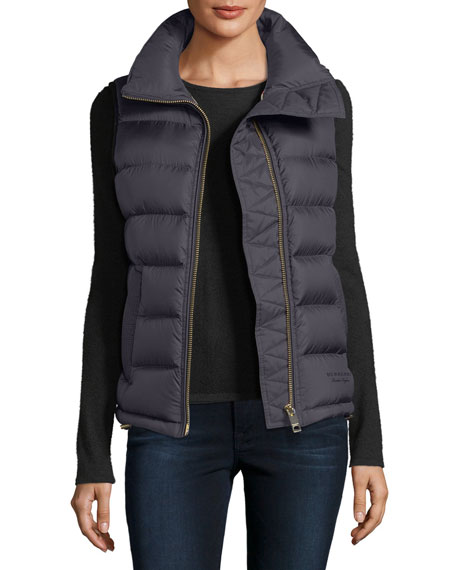 Burberry Bredon Down Zip-Front Vest, Black