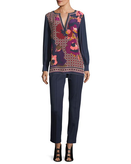 Engineered Mixed-Print Long-Sleeve Silk Tunic