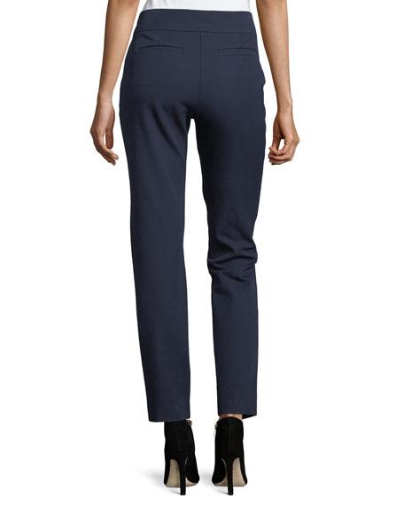 Mid-Rise Bi-Stretch Straight-Leg Cotton Pants