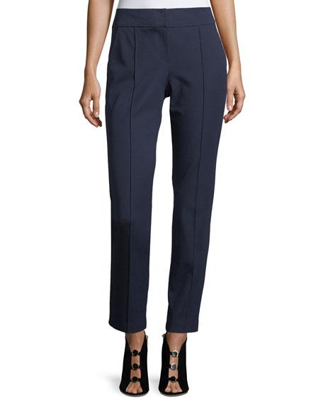 Trina Turk Mid-Rise Bi-Stretch Straight-Leg Cotton Pants