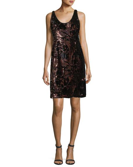 Cora Sleeveless Sequined Velvet Cocktail Minidress