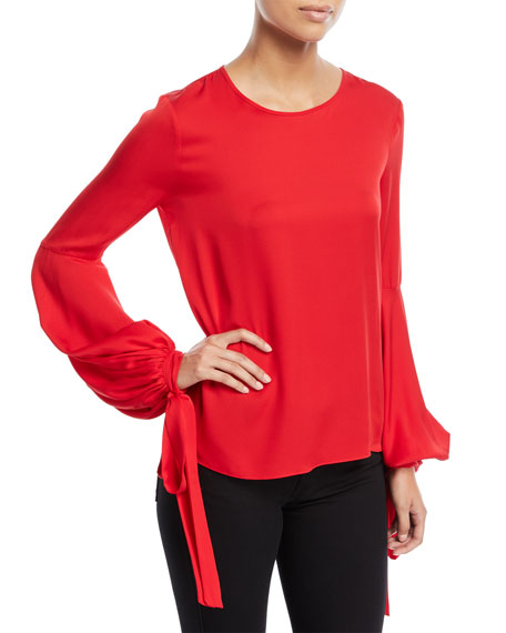 Milly Juliette Dramatic Bishop-Sleeve Stretch-Silk Top