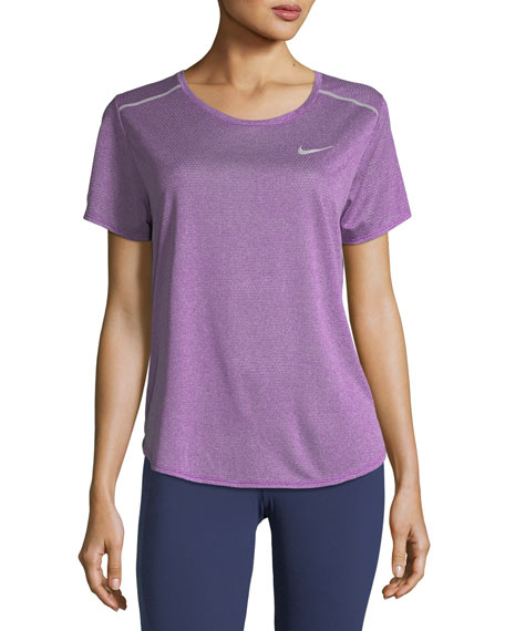 Nike Breathe Short-Sleeve Draped-Back Performance Top