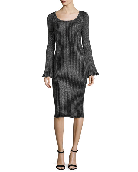 Milly Flare-Sleeve Ribbed Metallic Sweater Dress
