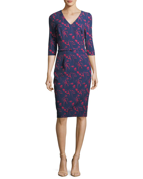 David Meister Floral-Print 3/4 Sleeves Crepe Sheath Day