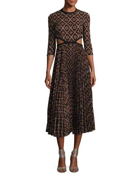 A.L.C. Holly Kaleidoscopic Cutout-Waist Pleated Midi Dress