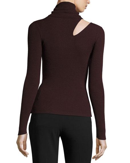 Kara Turtleneck Ribbed Sweater w/ Slit Detail