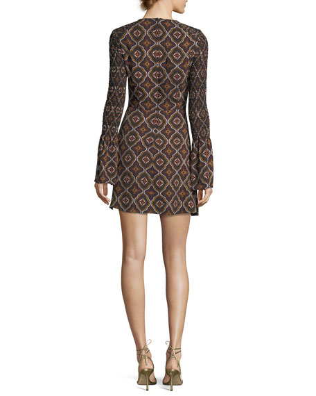 Alexa Kaleidoscope-Print Smocked-Sleeve A-Line Dress