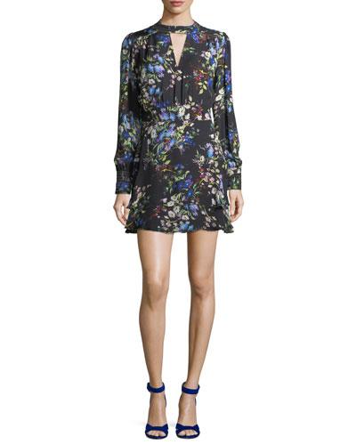 Chrissy High-Neck Floral-Print Silk Dress