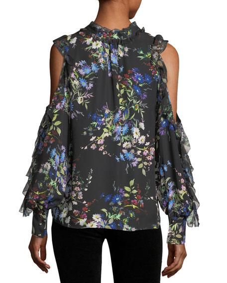 Elana Floral-Print Cold-Shoulder Silk Blouse