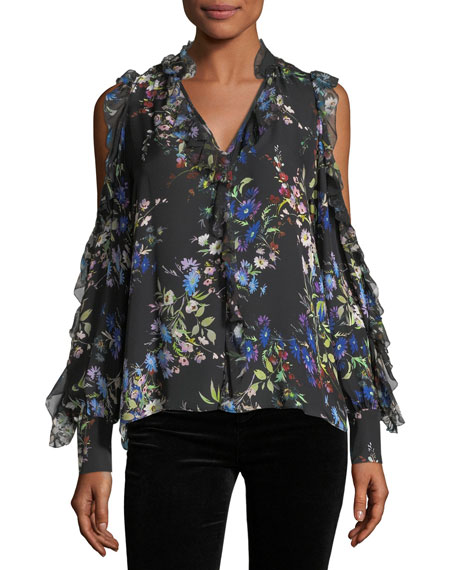 Parker Elana Floral-Print Cold-Shoulder Silk Blouse
