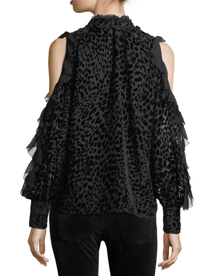 Elana Leopard Burnout Cold-Shoulder Blouse