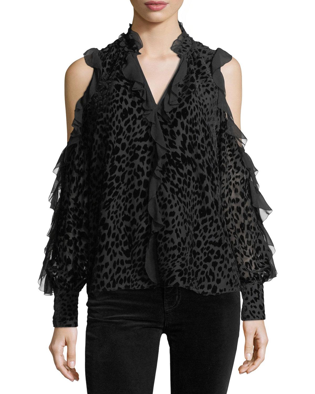 6aaeb122d0ad9e Parker Elana Leopard Burnout Cold-Shoulder Blouse