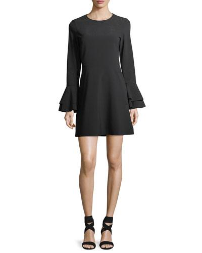 Orlando Jewel-Neck Trumpet-Sleeve Mini Dress